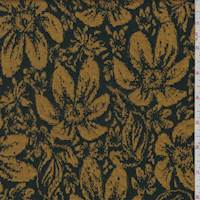 *3 YD PC--Black/Dark Gold Daisy Floral Jacquard Knit
