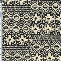 *4 3/8 YD PC--Black/Beige Ethnic Print Knit