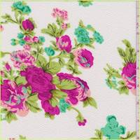 *1 1/4 YD PC--Off White Floral Textured Liverpool Knit