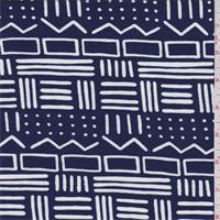 *2 YD PC--Dark Blue Tribal Tencel Jersey Knit