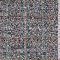 *4 YD PC--Olive/Teal Plaid Boucle Linen Blend Suiting