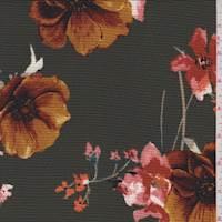 *3 3/4 YD PC--Dark Olive Floral Hammered Crepe