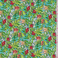 *3 YD PC--Turquoise Tropical Floral Print Rayon Crepon