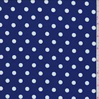*1 1/2 YD PC--Cobalt/White Polka Dot Textured Liverpool Knit