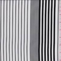 White/Black Stripe Crepe de Chine
