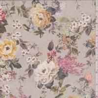 Beige Multi Vintage Floral Silk Chiffon