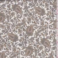 White/Gold Paisley Silk Chiffon