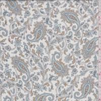 White/Aqua Paisley Silk Chiffon