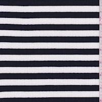 White/Black Stripe Jersey Rib Knit