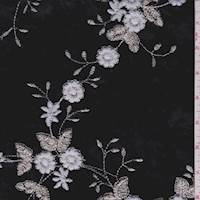 Black Floral Embroidered Velvet