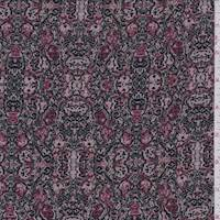 *1 5/8 YD PC--Mauve/Rose Medallion Jersey Knit