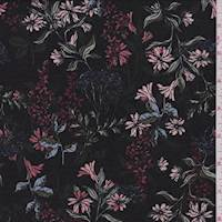 *1 5/8 YD PC--Black Multi Garden Floral Jersey Knit