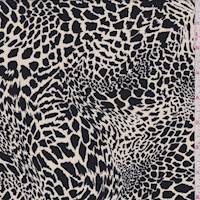 *6 YD PC--Natural/Black Animal Print Crepe de Chine