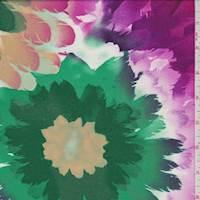 *4 1/4 YD PC--Ecru Multi Floral Burst Challis