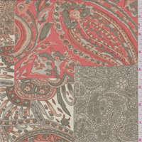 *2 1/2 YD PC--Olive/Coral Paisley Patchwork Georgette