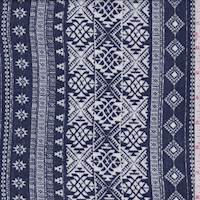 *2 1/4 YD PC--Denim Blue Tribal Stripe Crepon