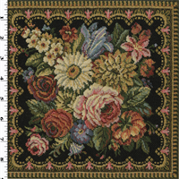 *1 YD PC--Black/Multi Rose Floral Tapestry Home Decorating Fabric