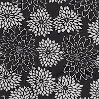 *1 YD PC--Black/White Floral Silk Crepe de Chine