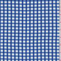 Bright Blue Gingham Check China Silk