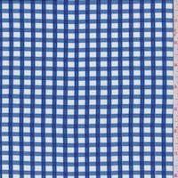 Bright Blue Gingham Check China Silk