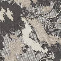 *3 5/8 YD PC--Black/Taupe Floral Silk Chiffon
