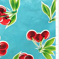 Bright Blue Cherry Oilcloth Roll