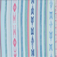 *1 1/8 YD PC--Light Larkspur Blue Southwest Stripe Crepe de Chine