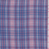 *1 1/4 YD PC--Dusty Blue/Red Plaid Shirting