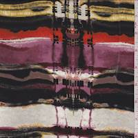 *1 1/2 YD PC--Merlot Multi Brushstroke Plaid Silk Chiffon