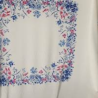 *3 PANELS--Ivory/Floral Silk Crepe de Chine