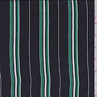 Navy/Kelly Stripe Silk Satin Chiffon