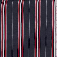 Navy/Red Stripe Silk Satin Chiffon