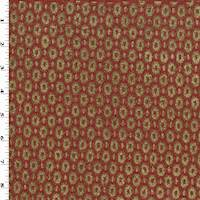 Brick Red/Taupe Boucle/Chenille Oval Damask Decor Fabric