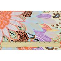 *1 1/8 YD PC--Pastel Teal/Orange/Multi Tropical Paisley Print Faille