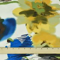 *2 YD PC--Herb Green/Blue/Multi Abstract Watercolor Print Charmeuse