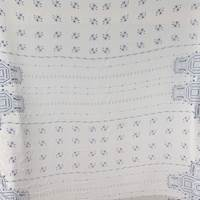*3 3/8 YD PC--Ivory/Blue Border Silk Chifflon