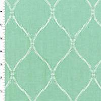 Seafoam Green Ogee Embroidered Rib Home Decorating Fabric