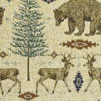 Beige/Brown/Multi Wild Life Forest Tapestry Decor Fabric
