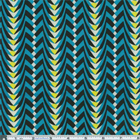 *1 3/4 YD PC--Cyan/Yellow Print Slinky