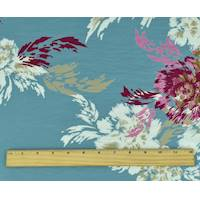 *2 3/8 YD PC--Blue/Multi Floral Print Crepe De Chine