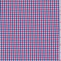 Red/Navy/White Mini Check Cotton Shirting