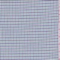 White/Kelly/Navy Check Cotton Shirting