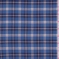 Medium Blue Plaid Flannel Shirting