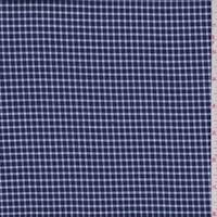 Navy Mini Check Flannel Shirting