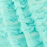 Aqua Teal Sheer Ruffle Knit