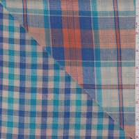 Beige Multi Plaid Double Face Gauze
