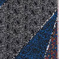 Black Multi Chevron Patchwork ITY Jersey Knit