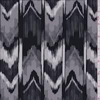 Black/Sterling Ikat Chevron Stripe ITY Jersey Knit
