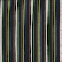 Olive Multi Stripe ITY Jersey Knit