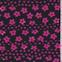 Black/Neon Pink Floral Stripe ITY Jersey Knit